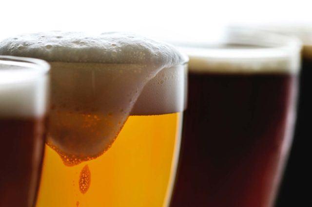 a flight of craft beer